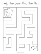 Help the bear find the fish Coloring Page