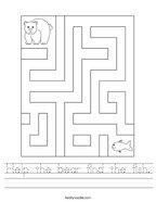 Help the bear find the fish Handwriting Sheet