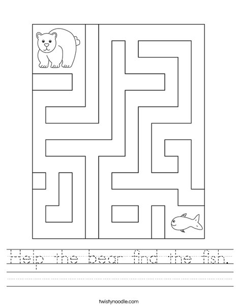 Help the bear find the fish. Worksheet