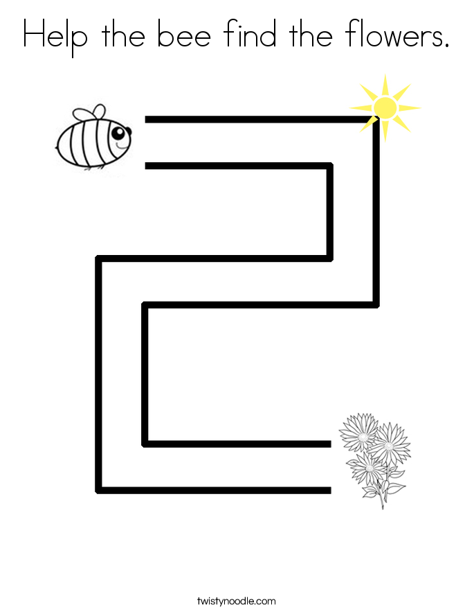 Help the bee find the flowers. Coloring Page