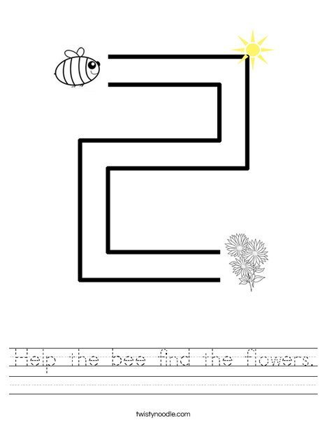 Help the bee find the flowers. Worksheet
