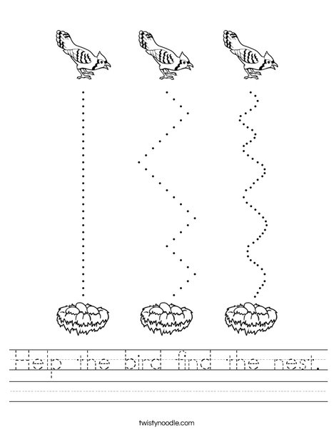 Help the bird find the nest. Worksheet