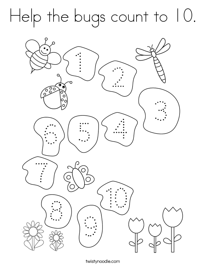 Help the bugs count to 10. Coloring Page