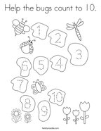 Help the bugs count to 10 Coloring Page