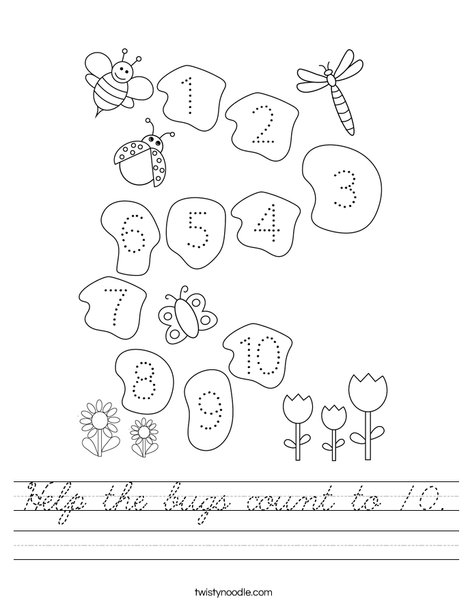 Help the bugs count to 10. Worksheet