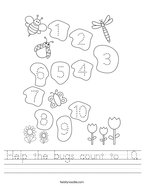 Help the bugs count to 10 Handwriting Sheet
