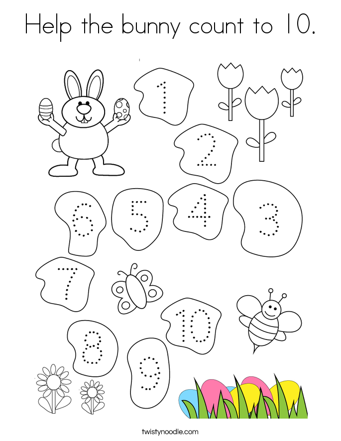 Help the bunny count to 10. Coloring Page