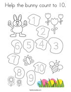Help the bunny count to 10 Coloring Page