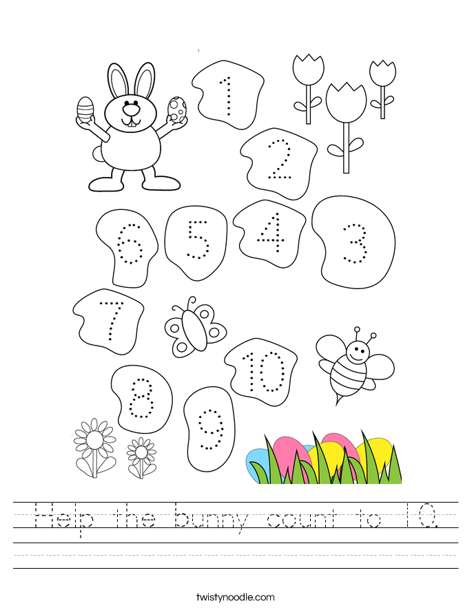 Help the bunny count to 10. Worksheet