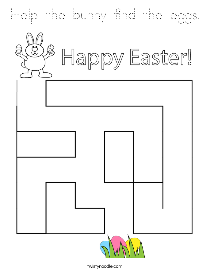 Help the bunny find the eggs. Coloring Page