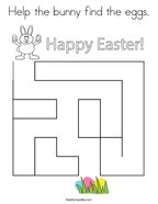 Help the bunny find the eggs Coloring Page