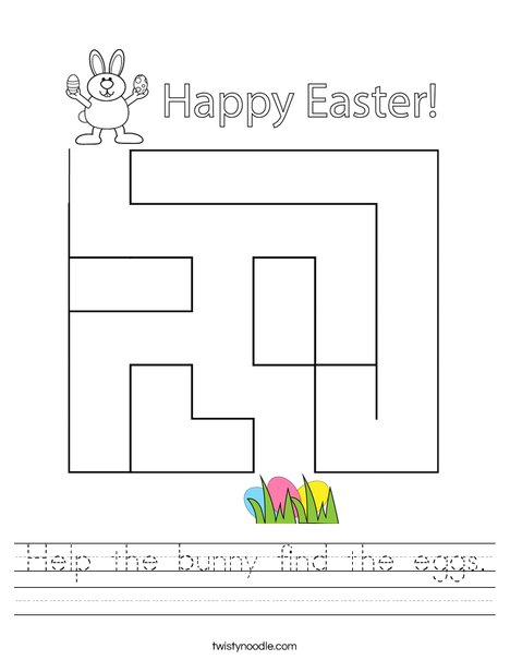 Help the bunny find the eggs. Worksheet