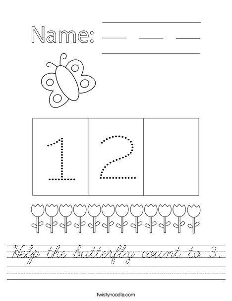 Help the butterfly count to 3. Worksheet