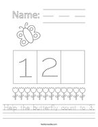 Help the butterfly count to 3 Handwriting Sheet
