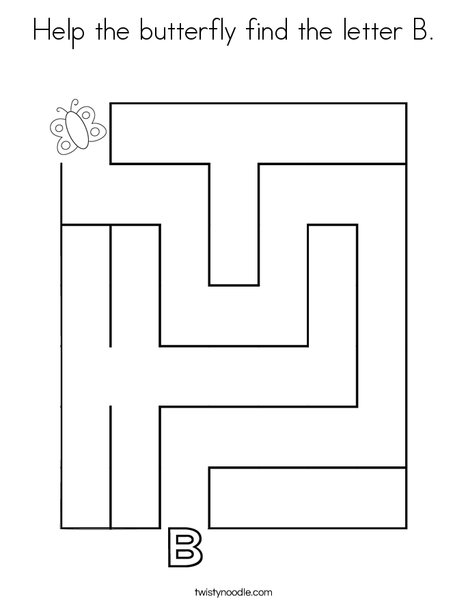 Help the butterfly find the letter B. Coloring Page