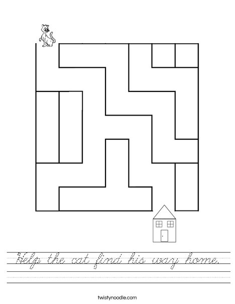 Help the cat find his way home. Worksheet