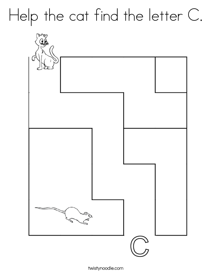 Help the cat find the letter C. Coloring Page
