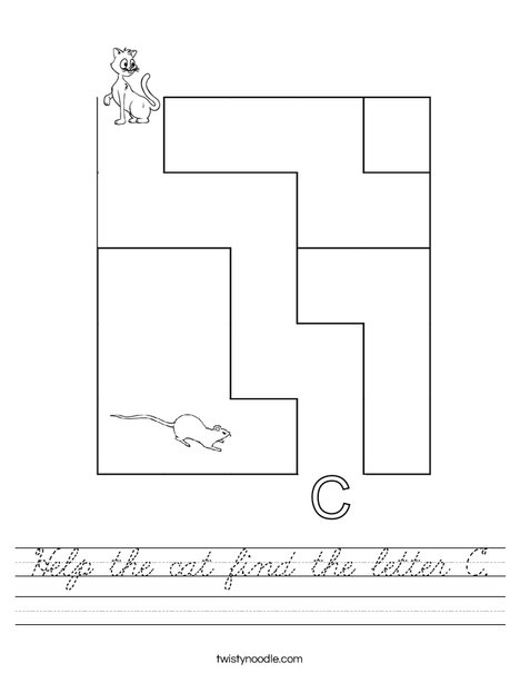 Help the cat find the letter C. Worksheet