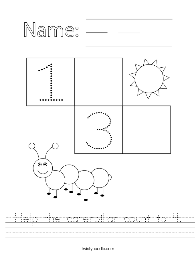 Help the caterpillar count to 4. Worksheet