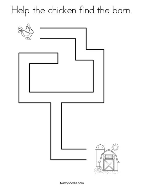 Help the chicken find the barn. Coloring Page