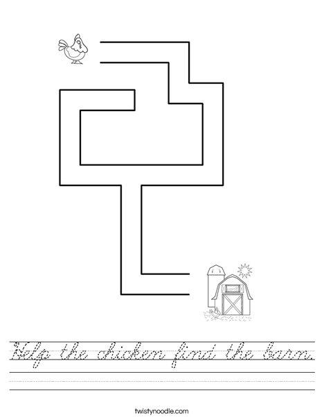 Help the chicken find the barn. Worksheet