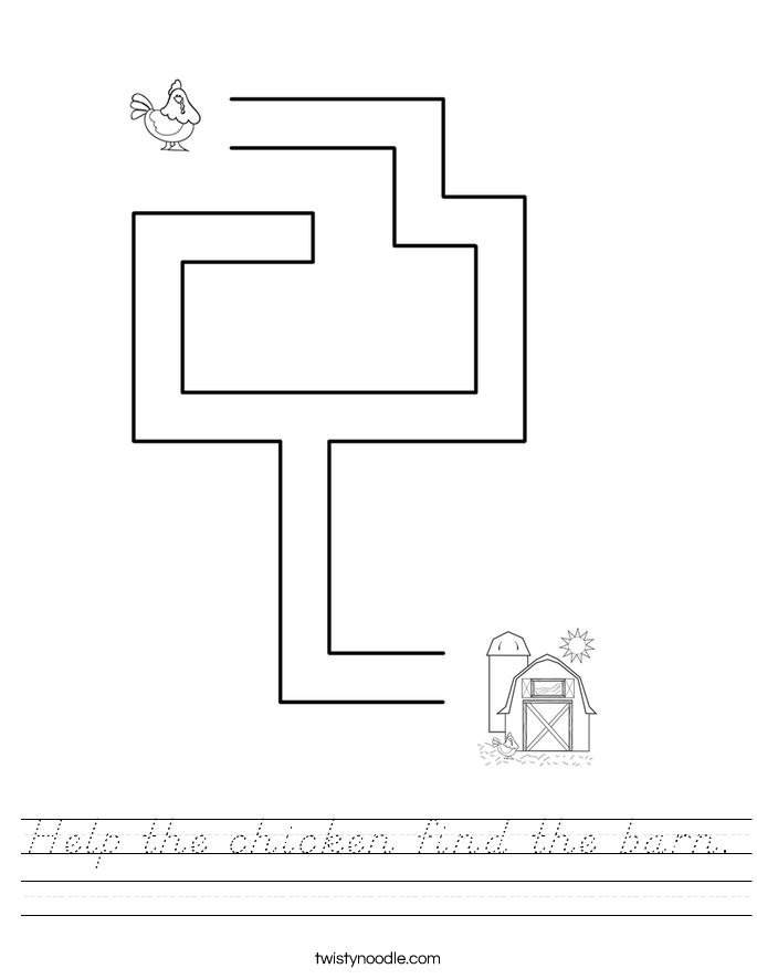 Help the chicken find the barn. Worksheet