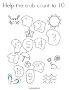 Help the crab count to 10 Coloring Page