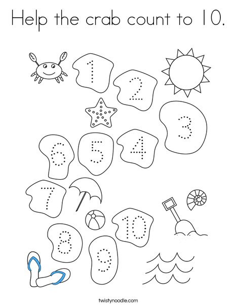 Help the crab count to 10. Coloring Page
