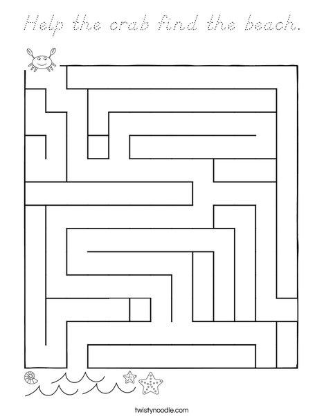 Help the crab find the beach. Coloring Page