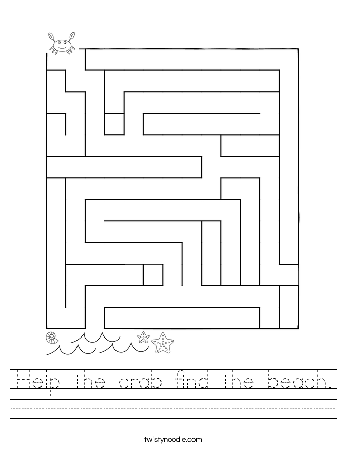 Help the crab find the beach. Worksheet