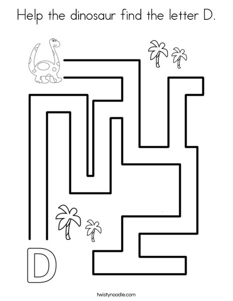 Help the dinosaur find the letter D. Coloring Page
