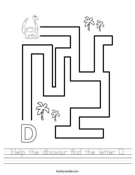 Help the dinosaur find the letter D. Worksheet
