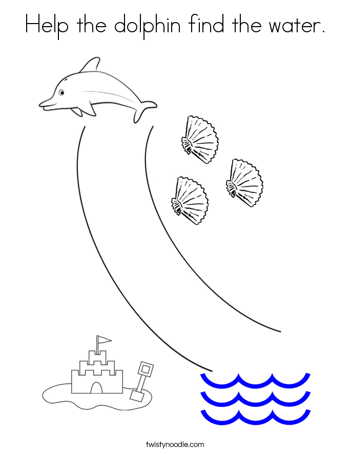 Help the dolphin find the water. Coloring Page