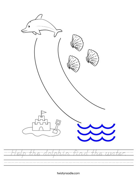 Help the dolphin find the water. Worksheet