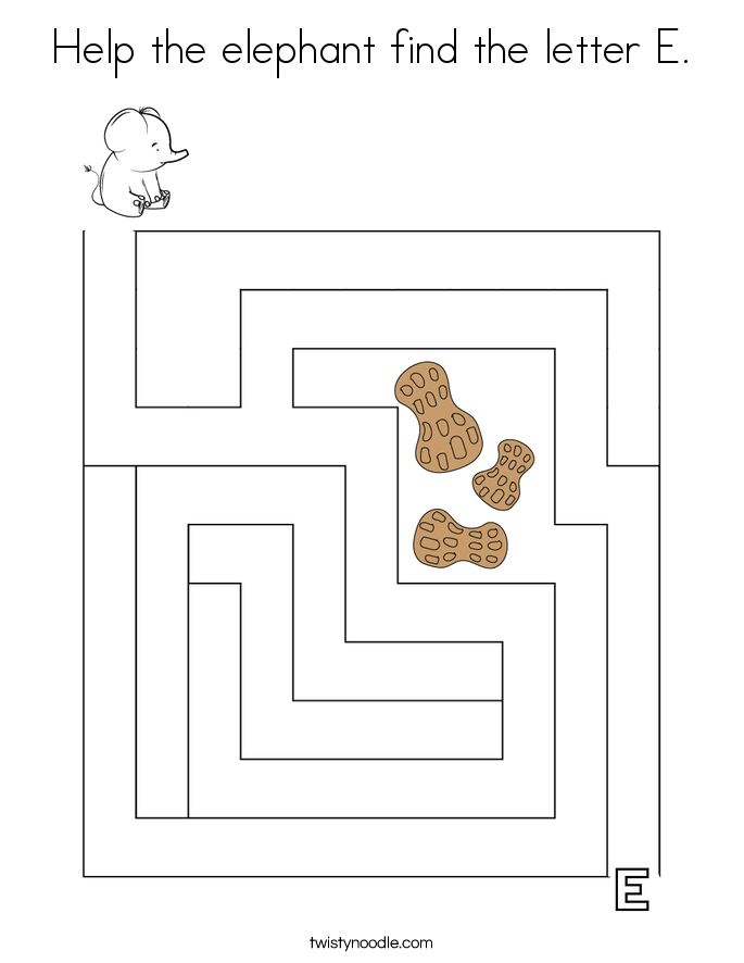 Help the elephant find the letter E. Coloring Page