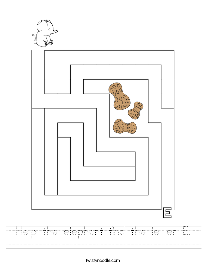 Help the elephant find the letter E. Worksheet