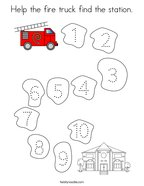 Help the fire truck find the station Coloring Page