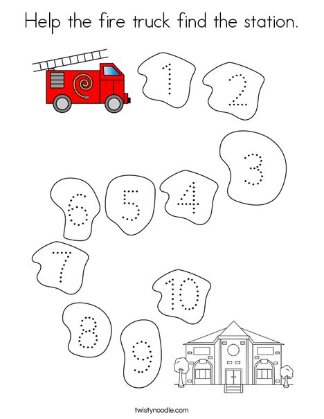 Help the fire truck find the station. Coloring Page