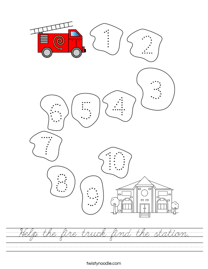 Help the fire truck find the station. Worksheet