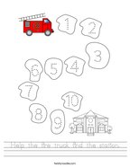 Help the fire truck find the station Handwriting Sheet