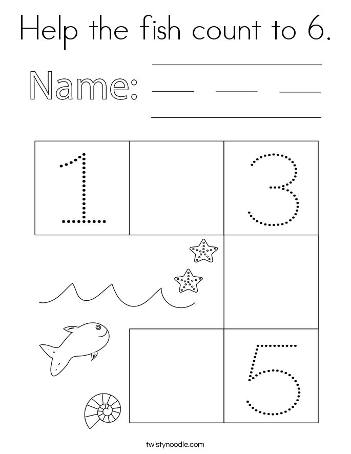 Help the fish count to 6. Coloring Page