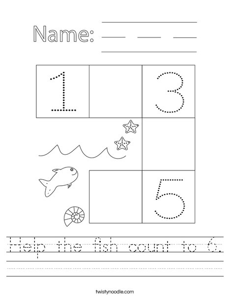 Help the fish count to 6. Worksheet