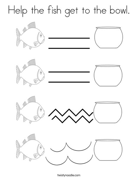Help the fish get to the bowl. Coloring Page