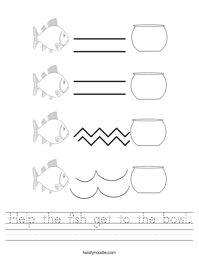 Help the fish get to the bowl. Worksheet