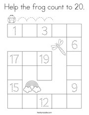Help the frog count to 20 Coloring Page