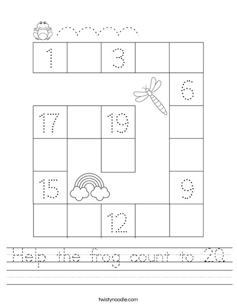 Help the frog count to 20. Worksheet