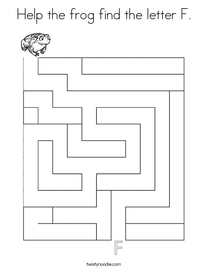 Help the frog find the letter F. Coloring Page