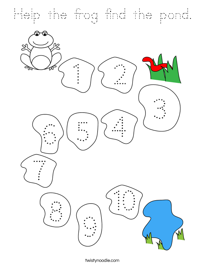 Help the frog find the pond. Coloring Page
