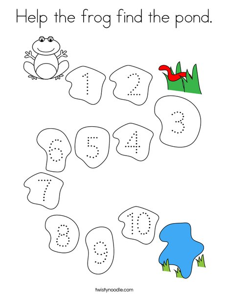 Help the frog find the pond Coloring Page - Twisty Noodle