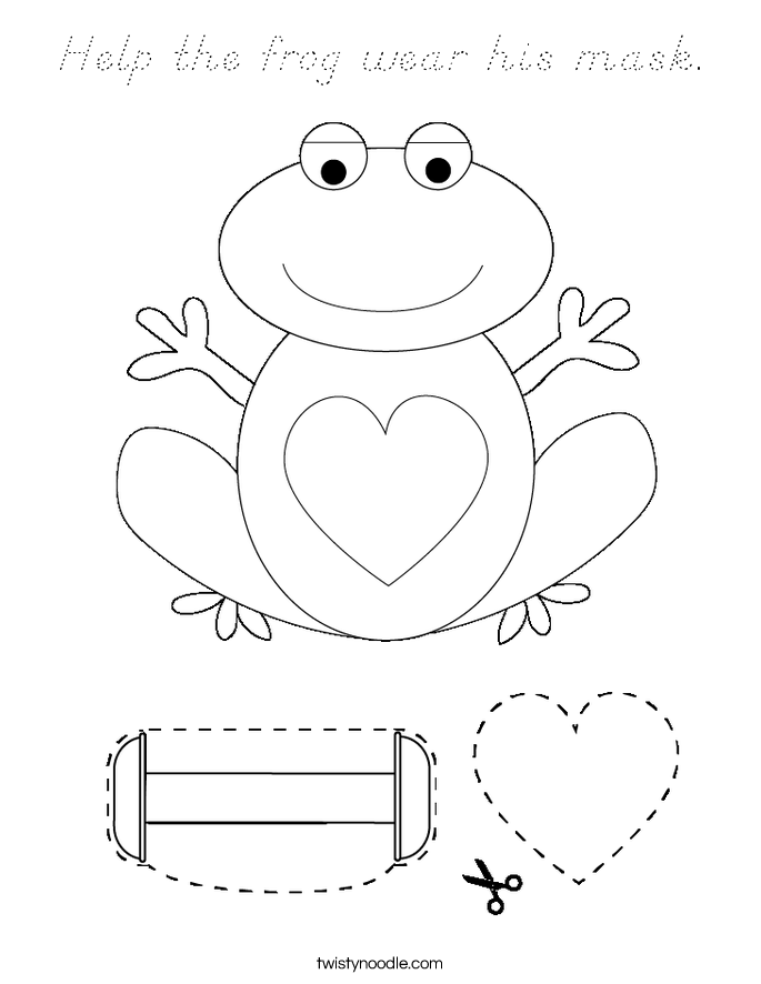 Help the frog wear his mask. Coloring Page